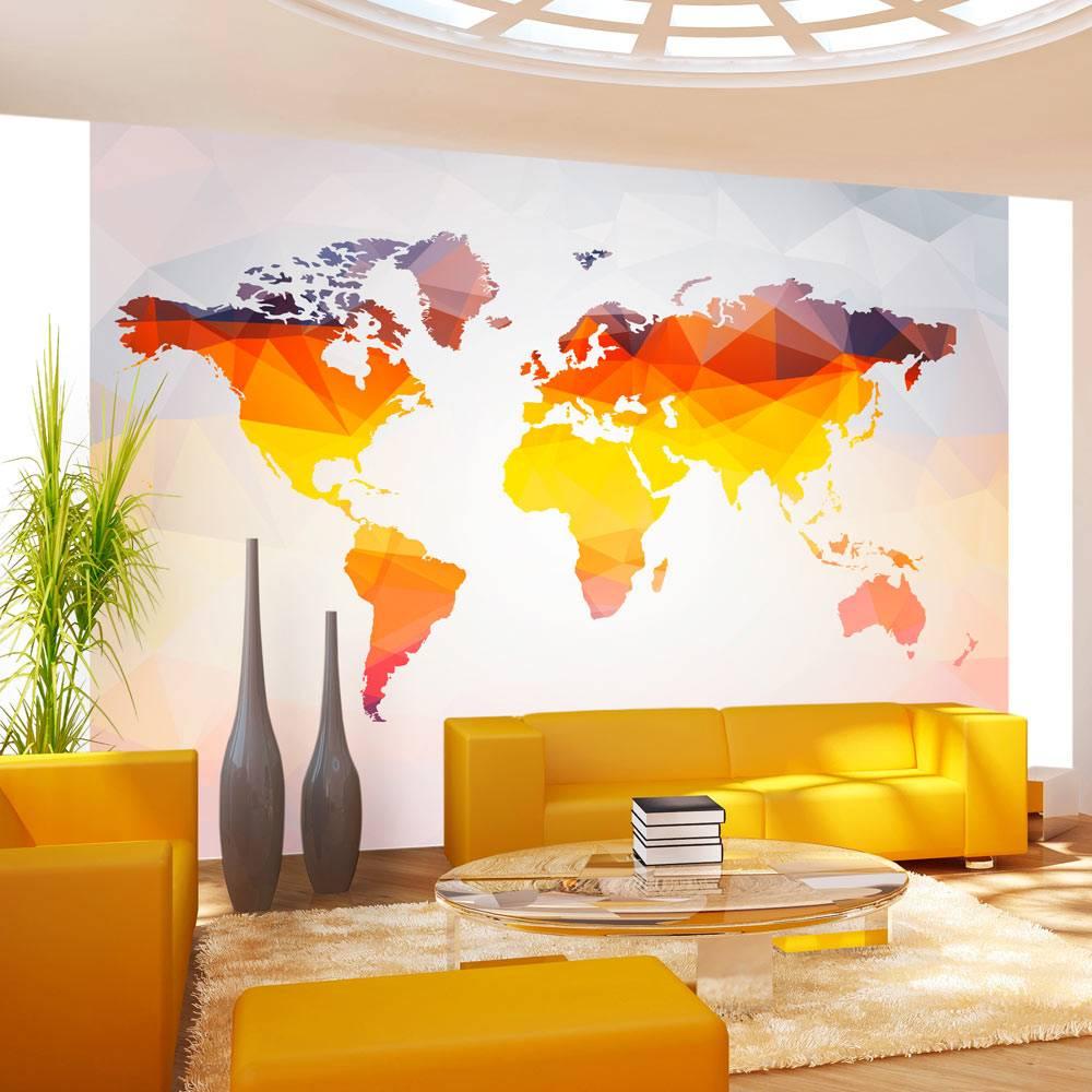 Fotobehang – Wereldkaart in oranjetinten | Karo-art | 5902875623696