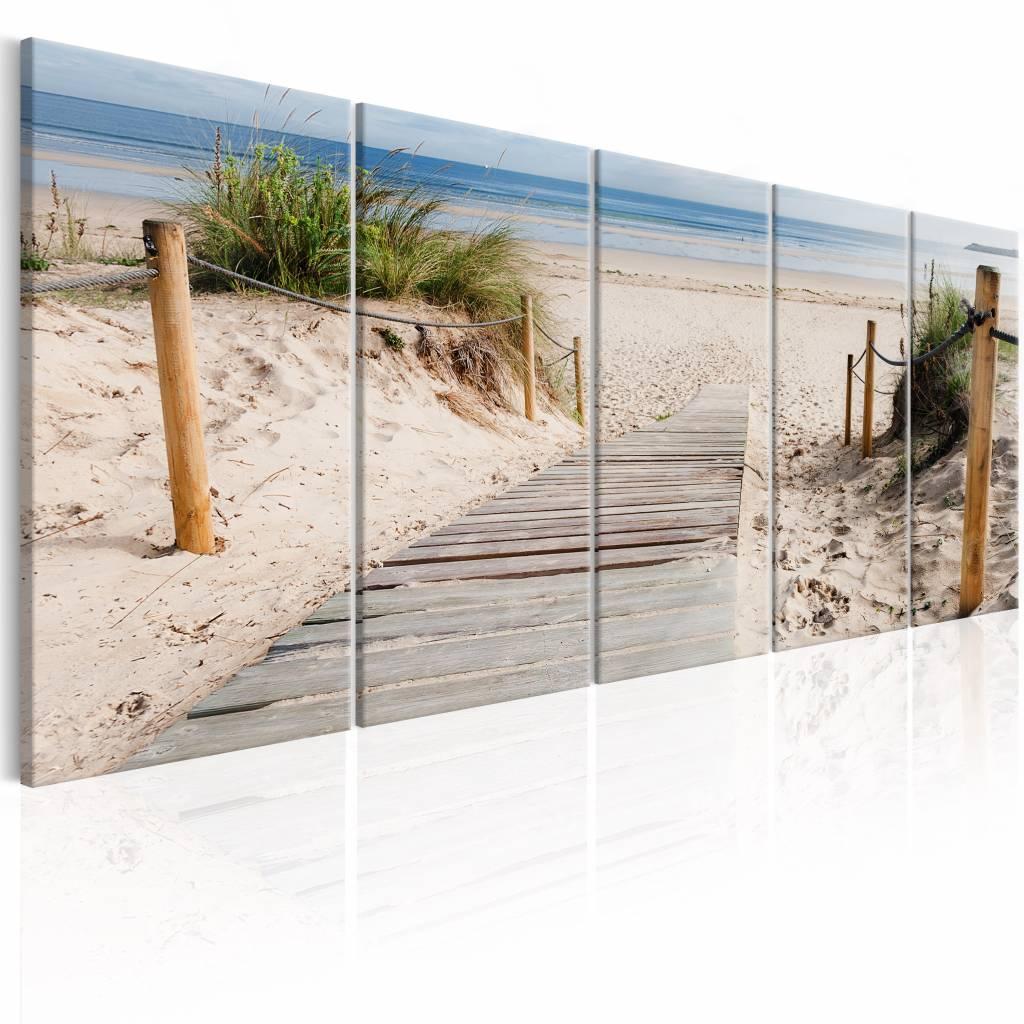 Schilderij – Pad naar de zee , blauw beige , 5 luik | Karo-art | 5902875690247