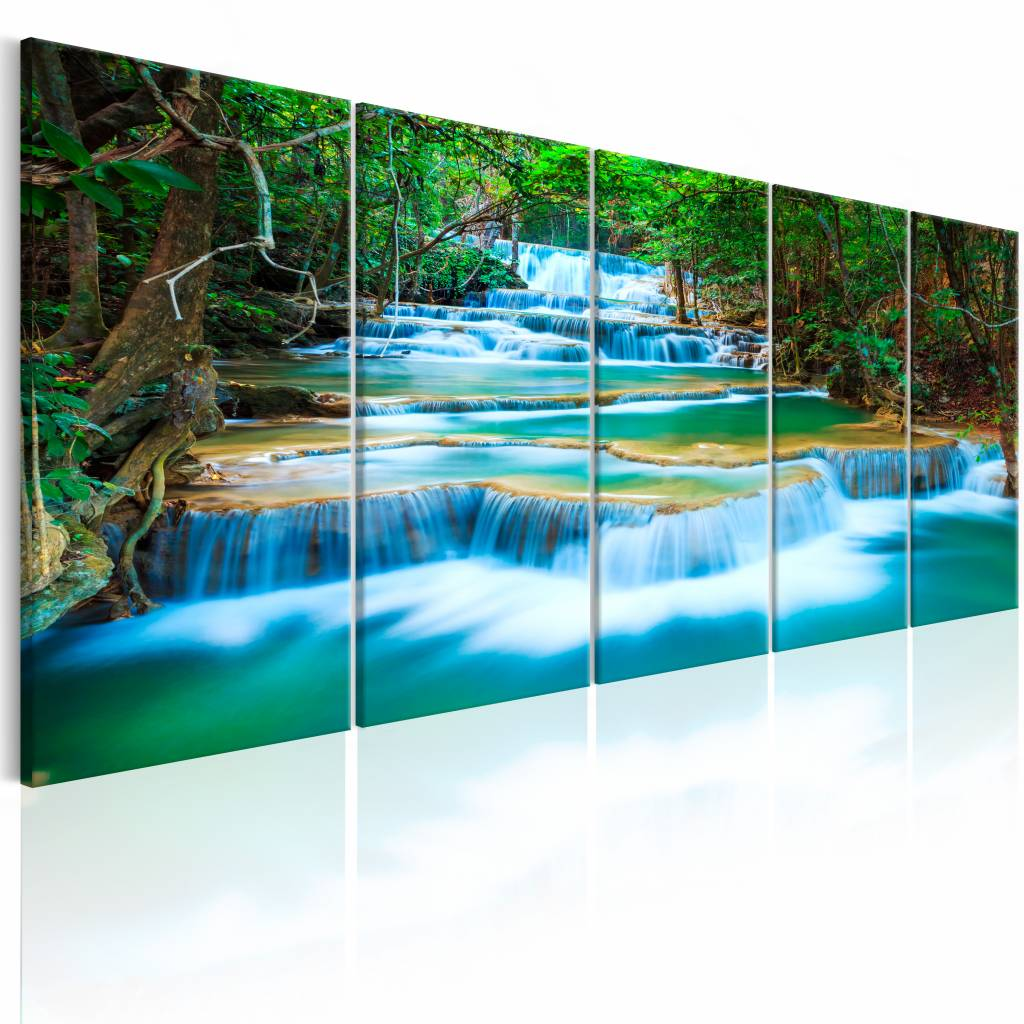 Schilderij – Saffieren Waterval , blauw groen , 5 luik | Karo-art | 5902875678962